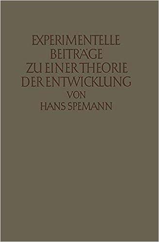 Book Experimentelle Beiträge zu einer Theorie der Entwicklung