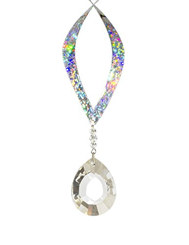 Handmade 12 inch Beautifully Gift Packaged Crystal Rainbow Mylar Double Helix with 30mm Crystal Bead Attached