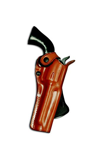 Masc Leather Paddle OWB Revolver Holster with Retention Strap Fits Smith Wesson L-Frame Model 686 357 Mag 6-Shot 4''BBL, R/H Draw, Brown Color #1485#