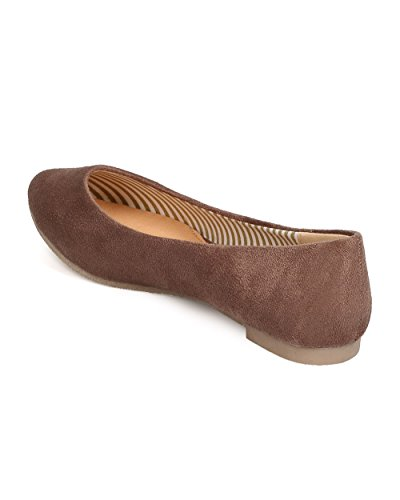 Flat Pointy Taupe Ballerina Women Toe Faux BETANI Suede FE12 1nT0qqZU