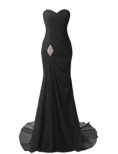 JYDress Womens Sweetheart Mermaid Long Evening Dress Formal Prom Gowns, Black, 16 (Design Train Sweep)