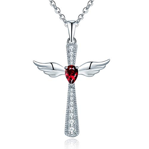 - YL Women's Cross Necklace Sterling Silver Cubic Zirconia Angel Wings Crucifix Pendant Teardrop Created Ruby Criss Jewelry
