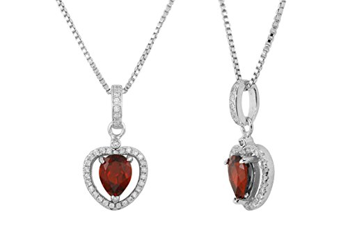 Sterling Silver Cubic Zirconia Natural Garnet Heart Shaped Gemstone Pendant Necklace 16