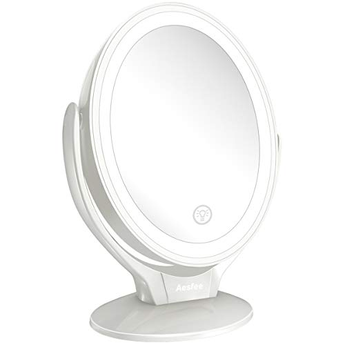 7x Magnified LED Lighted Makeup Mirror, Two-Sided Light up Illuminated Makeup Vanity - Bathroom Vanity Makeup Mirrors