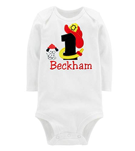 Embroidered Firefighter First Birthday Onesie Bodysuit for Baby Boys Personalized with Your Baby Custom Name (Black & Red, 12 Months Long Sleeve) ()