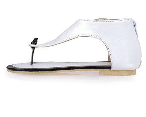 Femme AalarDom Sandales Blanc Zip d'orteil Talon Unie à TSFLG005525 Bas Ouverture Couleur SqnwpdZTqx