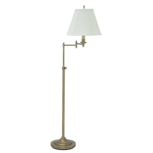 House Of Troy CL200-AB Club Collection Portable Floor Lamp, Antique Brass with Off White Soft Shade
