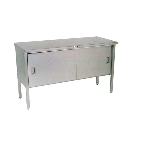 John Boos 140-11 14 gauge Stainless Steel Enclosed Base Work Table with Sliding Doors, 48