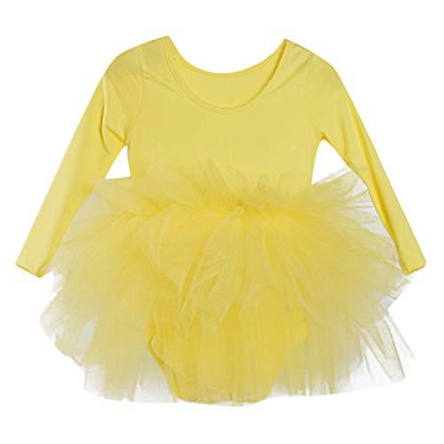 Jchen(TM) Little Kids Baby Girls Dress Gymnastics Dance Tutu Tulle Ballet Training Bodysuit Dancewear Dress for 2-6 Y (Age:2-3 Years, Yellow) ()