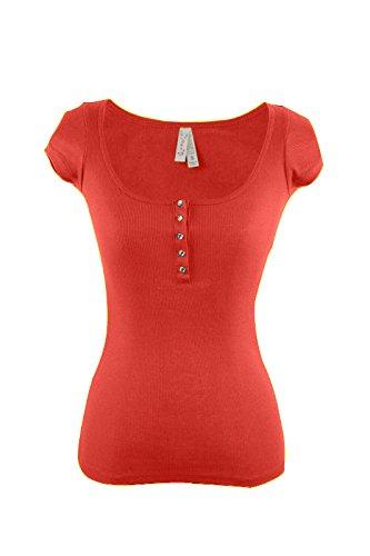 Women/Juniors Ribbed Henley Scoop-Neck Short Sleeves Tee Shirt L Bright Orange