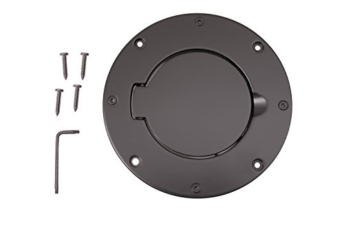 Billet Fuel Gas Door - Rugged Ridge 11425.02 Billet Style Black Aluminum Gas Door Cover
