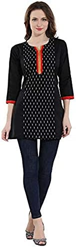 Dream & Dzire cotton short top kurti for women of black color for casual/formal wear in all small size to plus size.