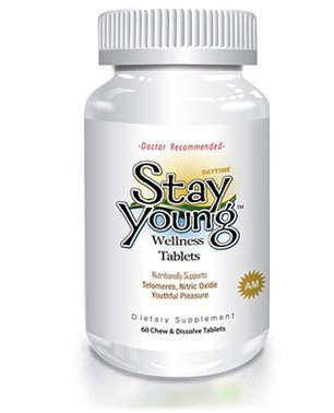 Stay Young AM - 60 Chewable Tablets - Natural Sleep Aid, Nitric Oxide Booster, Anti-Aging Formula, Regain Youth, Telomeres Support Supplement