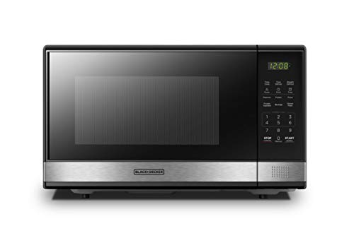 BLACK+DECKER EM031MB11 Digital Microwave Oven with Turntable Push-Button Door,Child Safety Lock,1000W,1.1cu.ft,Stainless Steel, 1.1 Cu.Ft