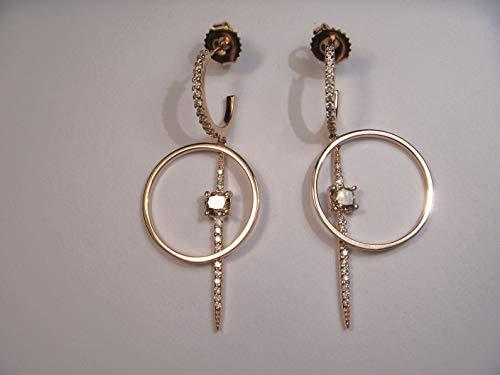 Fancy Dangle Diamond (Stunning 14K Pink Rose Gold Fancy Color Champagne Diamond Drop Dangle Earrings)