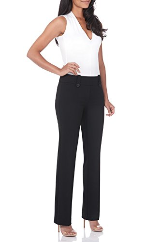 Rekucci Women's Smart Desk to Dinner Stretch Bootcut Pant w/Tummy Control (10SHORT,Black)