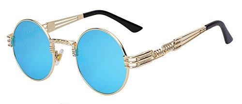 4d3c51c03b COOCOl Steampunk Sunglasses Men Women Metal WrapEyeglasses Round Shades  Brand Designer Sun glasses Mirror UV400 Gold
