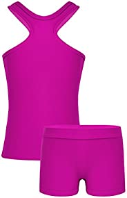 Freebily Kids Girls 2-Piece Sleeveless Gymnastics Ballet Dance Sports Tank Tops with Shorts Bottoms Outfit Set