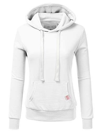 NINEXIS Womens Long Sleeve Fleece Pullover Hoodie Sweatshirts White L ()