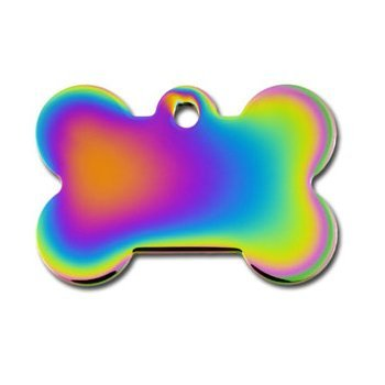 Quick-Tag Large Rainbow Bone Personalized Engraved Pet ID Tag by Quick Tags