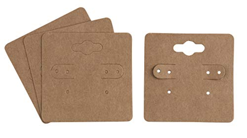 - Earring Cards - 200-Pack Hanging Earring Card Holder, Kraft Paper Jewelry Display Cards for Earrings, Ear Studs, Brown, 2 x 2 Inches
