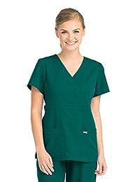 Barco Grey's Anatomy Women's Junior-Fit Three-Pocket Mock-Wrap Scrub Top