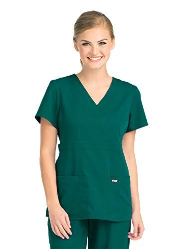 Grey's Anatomy 4153 Women's Mock Wrap Top Hunter Green M ()