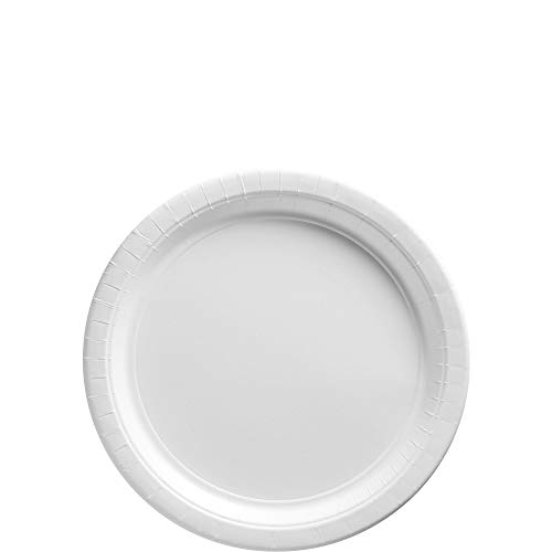 Amscan Frosty White Paper Plate Big Party Pack, 50 Ct.