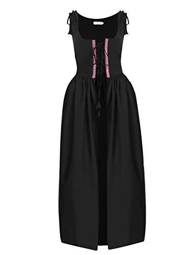 Anna-Kaci Womens Renaissance Medieval Irish Costume Inspired Long Over Dress, Black, Medium