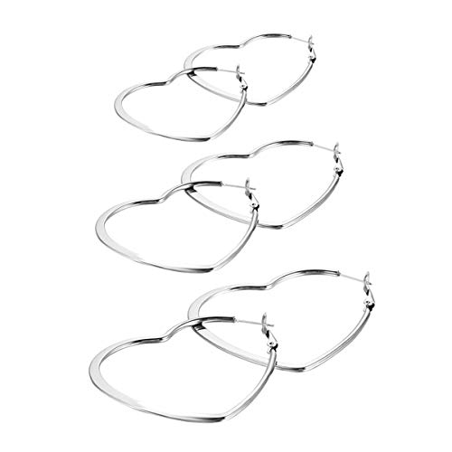 (Flongo Women's 6PCS Charm Stainless Steel Heart Shape Huggie Hinged Earring)