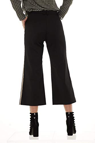 Black Donna 8p0164 Pantaloni Cropped Patrizia Bande Laterali Pepe Con Aq39 REqP1zc