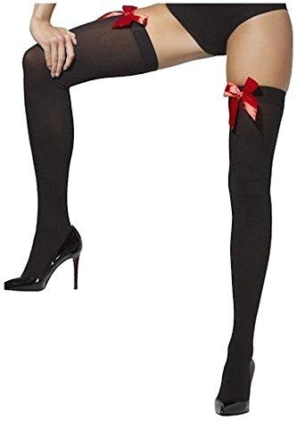 Smiffys Opaque Noir Bow Chaussettes Et Fever Autofixants Rouge zqUwrvzx