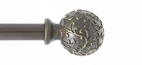 - Urbanest 1-inch Diameter Scroll Ball Adjustable Single Drapery Curtain Rod, 48-inch to 84-inch, Bronze with Gold Highlight