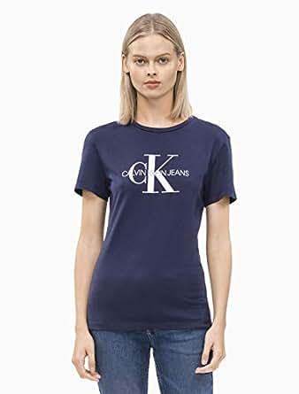 Calvin Klein Jeans Women's Monogram Logo Slim Fit T-Shirt, Peacoat, XS