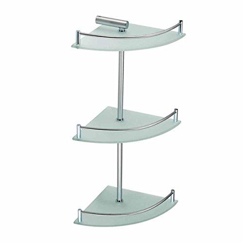 3 Tier Corner Temper Glass Shelves Stainless Steel | Renovat