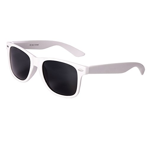 Nerd Sunglasses Matt Rubber Style Retro Vintage Unisex Glasses Spring Hinge Black - 24 Different Models (White-Black, - White Nerd Glasses