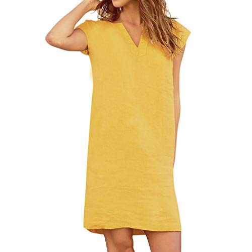Xinantime Women's V-Neck Dress Loose Tunic Dress Casual Home Service Solid Color Tops Yellow