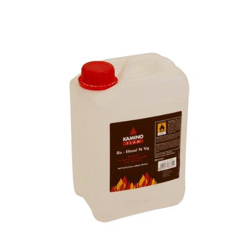 KAMINO FLAM Bio-Ethanol 339350, das Ethanol ist 96,6%ig, der Alkohol ist gesundheitlich unbedenklich und geruchsneutral, der Brennstoff eignet sich für Kamine im Innen- und Außenbereich und verbrennt fast rückstandslos, die Maße des 3 Liter Kanisters betragen ca. 15,5 x 23 x 11,5 cm