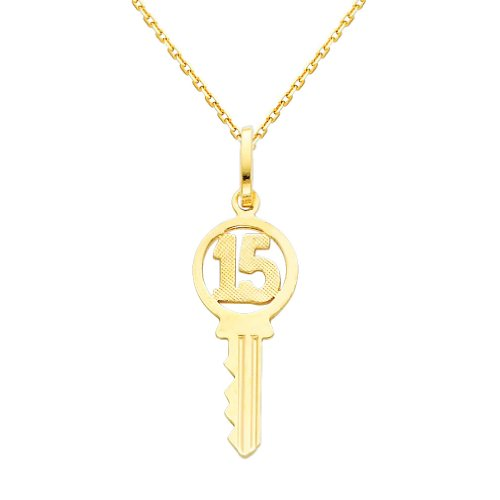 14k Yellow Gold Sweet 15 Key Charm Pendant with 0.9mm Oval Angled Cut Rolo Cable Chain Necklace - 16