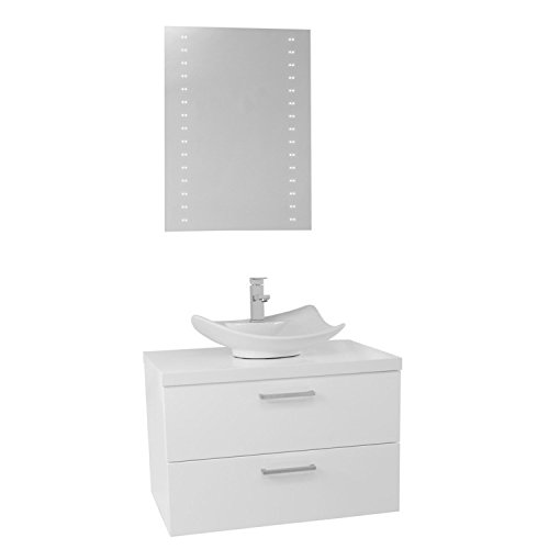 "free shipping Iotti Iotti AN665 Aurora Vessel Sink Bathroom Vanity Wall Mounted with Lighted Mirror Included, 30"", Glossy White"