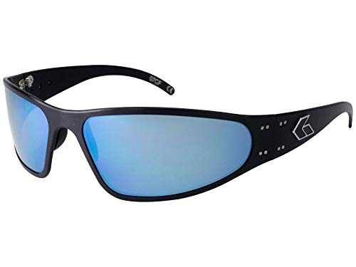 Gatorz Eyewear, Wraptor Model, Aluminum Frame Sunglasses -  Black/Smoked Polarized Lens w/Blue Mirror Polarized Lens