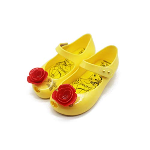 Rose Pattern Girls Jelly Sandals Beauty Beast Toddler Kids Sandals Non-Slip Girls Princess Shoes Yellow 8