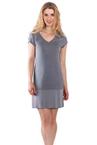 Jones New York Women's Short Sleeve V-Neck Satin Nightgown (X-Large)