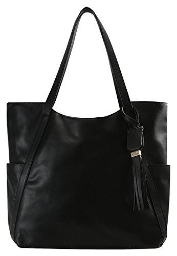 Anna Field borsa da donna in similpelle di alta qualità - Elegante borsa a mano con frangette decorative - Shopper Bag classica, ca. 31x43x14 cm Nero