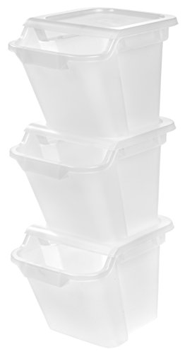 IRIS 18 Quart Recycle Storage Bin, 3 Pack, (Indoor Recycling Containers)