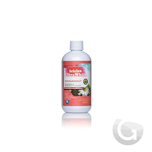 Cinnamint Natural Mouthwash (8oz) Alcohol Free for Sensitive Teeth, NO Burning or Stinging, NO Artificial Flavors, Made with Pure Essential Oils, Great Taste [Icicles Ultra White]