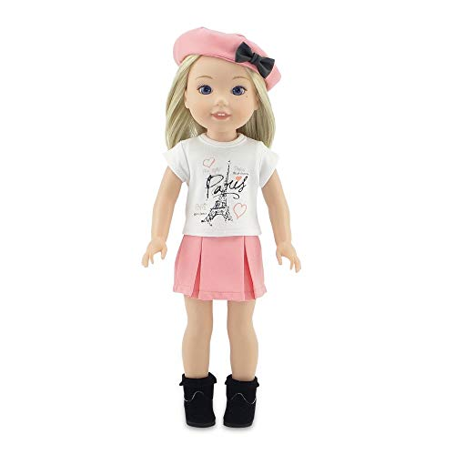 (Emily Rose 14 Inch Doll Clothes | Parisian Doll Skirt Outfit, Including Hat, T-Shirt with Eiffel Tower Graphic and Ankle Boots | Fits 14