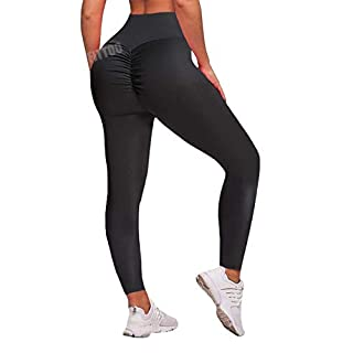 FITTOO Women's High Waisted Bottom Scrunch Leggings Ruched Yoga Pants Push up Butt Lift Trousers Workout Black S