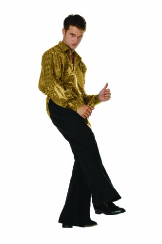 Disco Inferno Costumes (Disco Inferno Sequin Shirt Gold Medium)