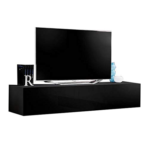 "MEBLE FURNITURE & RUGS Fly Modular Wall Mounted Floating 63"" TV Stand (Type-30) (Black)"